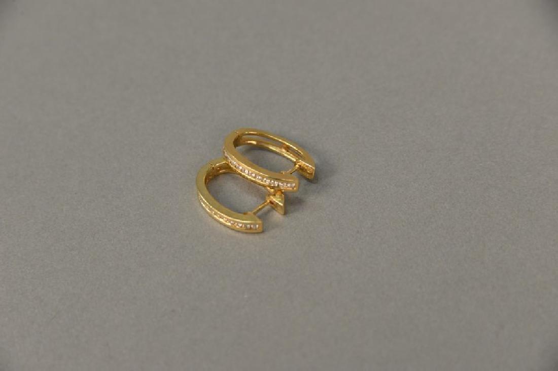 "14K yellow gold and diamond channel set ""huggie"" - 2"