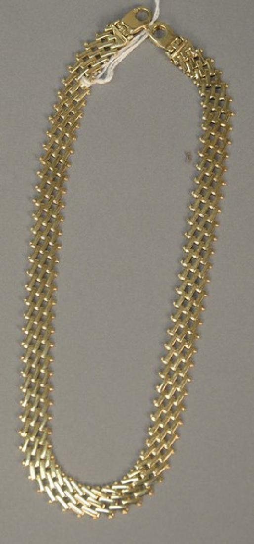 14K gold woven necklace, lg. 14 1/2in. with extra