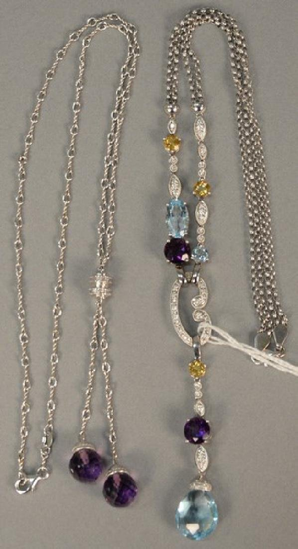 Two piece lot 14K white gold faceted amethyst necklace