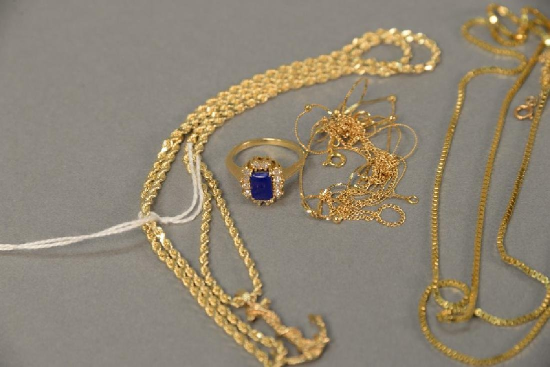 Six piece lot with 14K gold chain having anchor pendant - 2