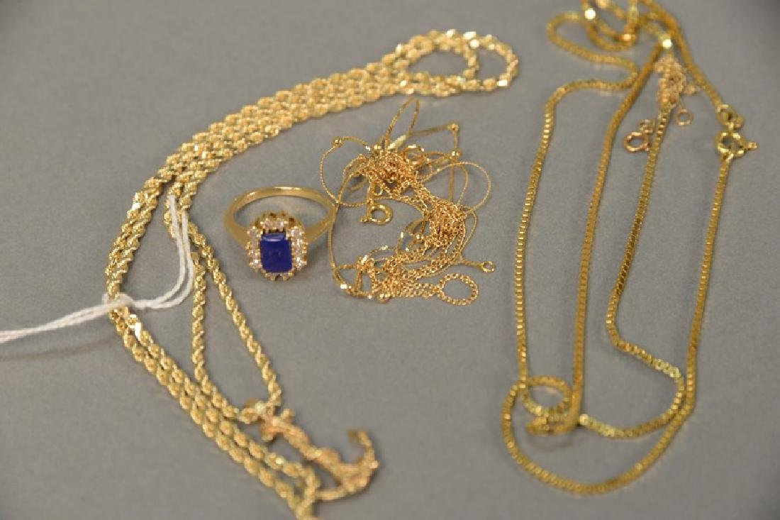 Six piece lot with 14K gold chain having anchor pendant - 4