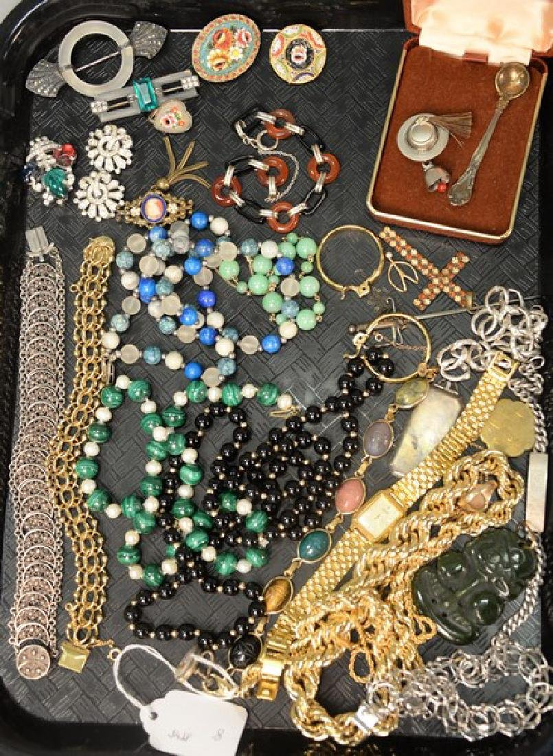 Lot of silver and costume jewelry.