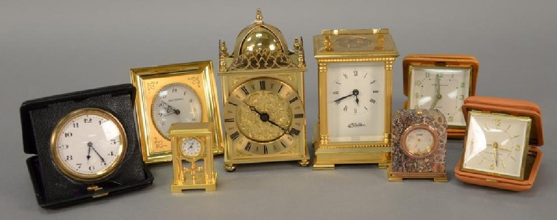 Group of eight clocks including Haller Carriage clock,
