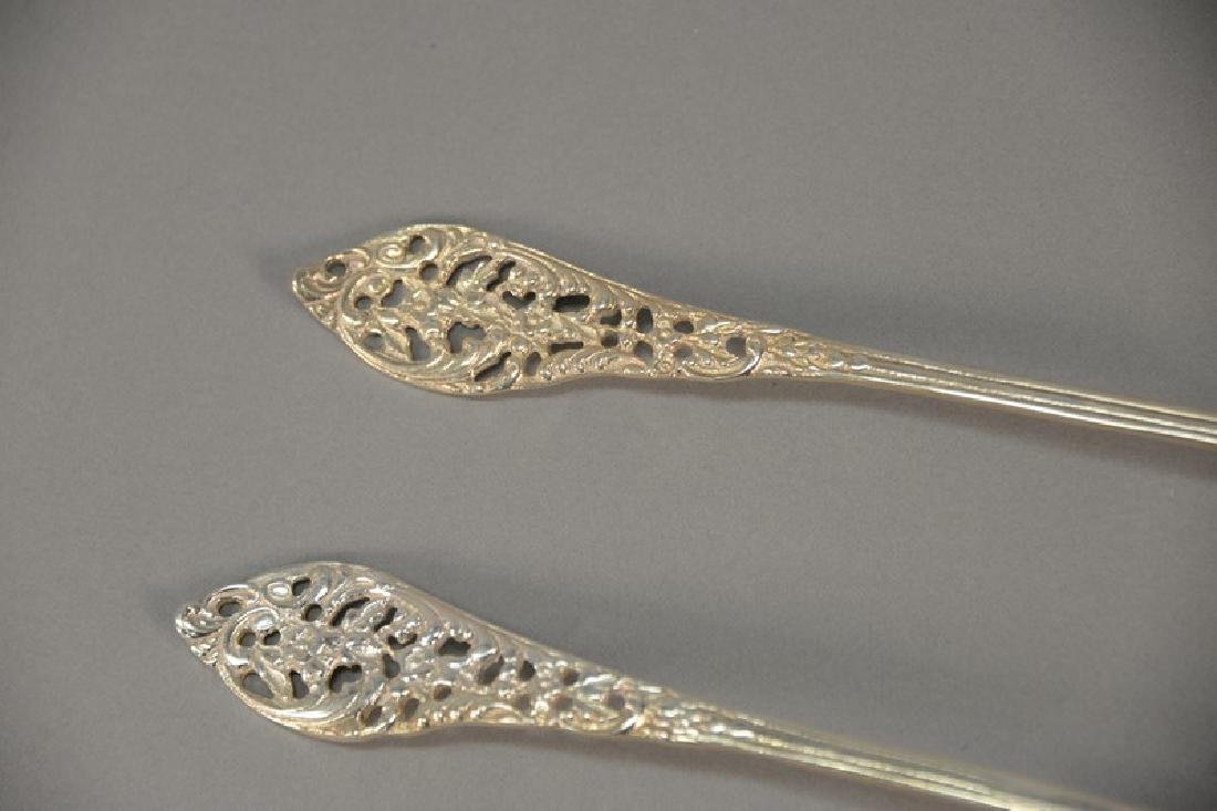 Large sterling silver serving set with fork and spoon. - 3