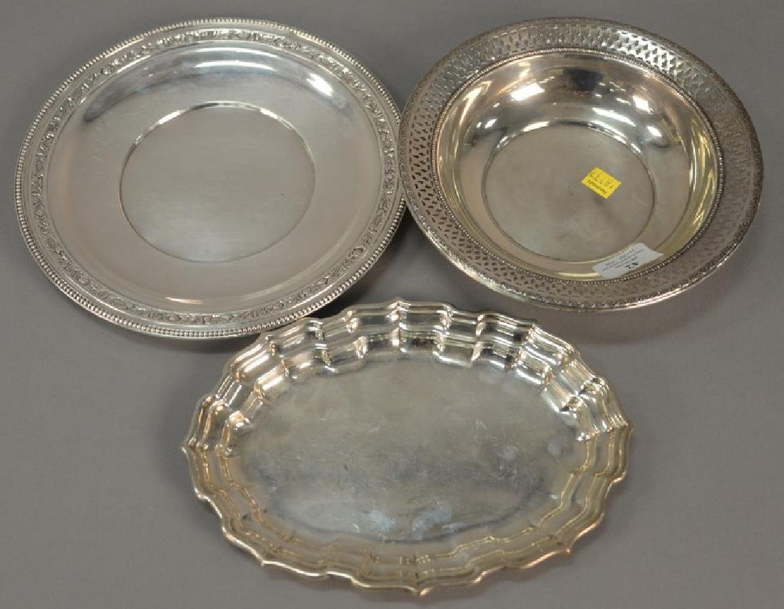 Three sterling silver pieces including oval tray, bowl,