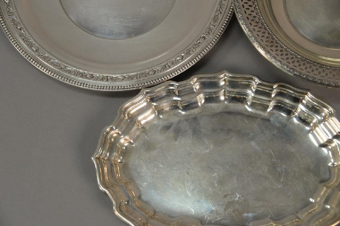 Three sterling silver pieces including oval tray, bowl, - 3