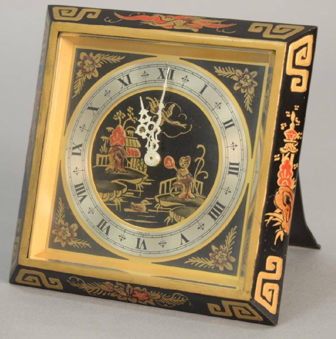 Chelsea bronze desk clock, Oriental style. ht. 6in.