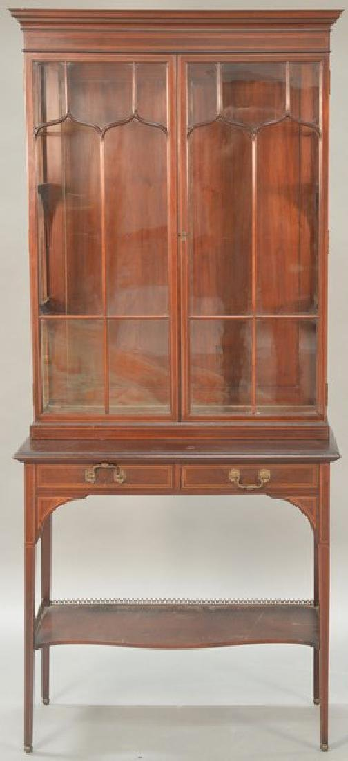Mahogany inlaid stepback cabinet having two glass doors