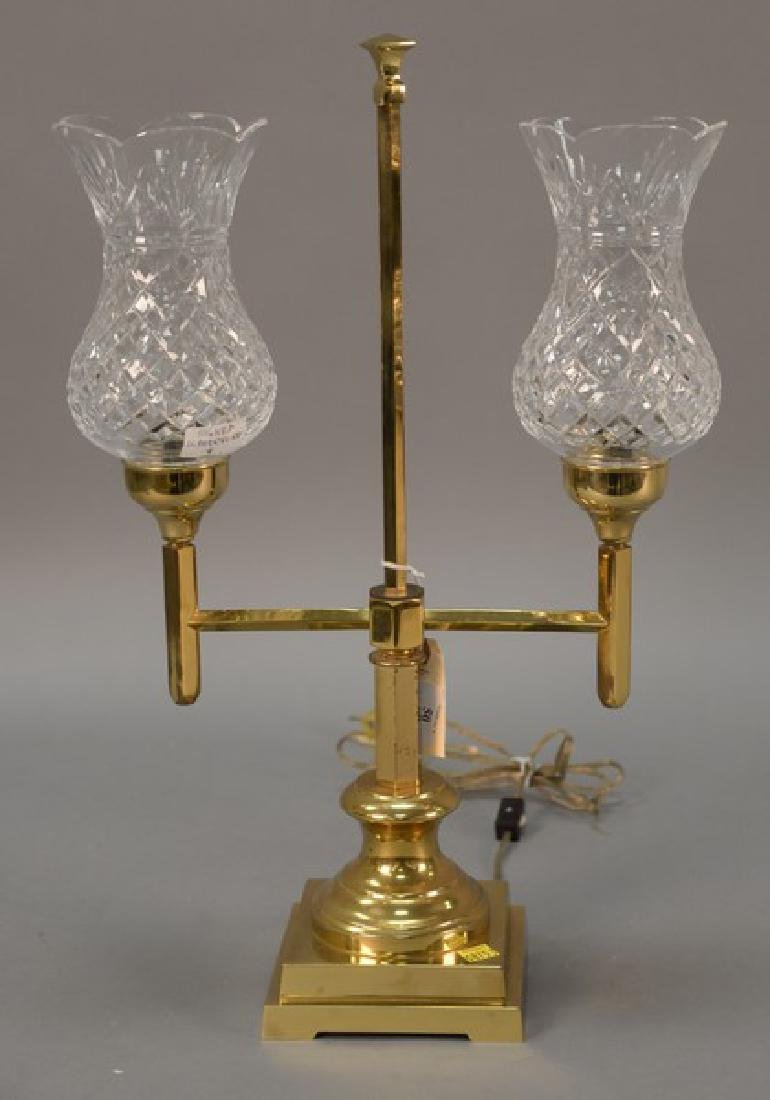 Waterford brass lamp with two cut crystal shades signed