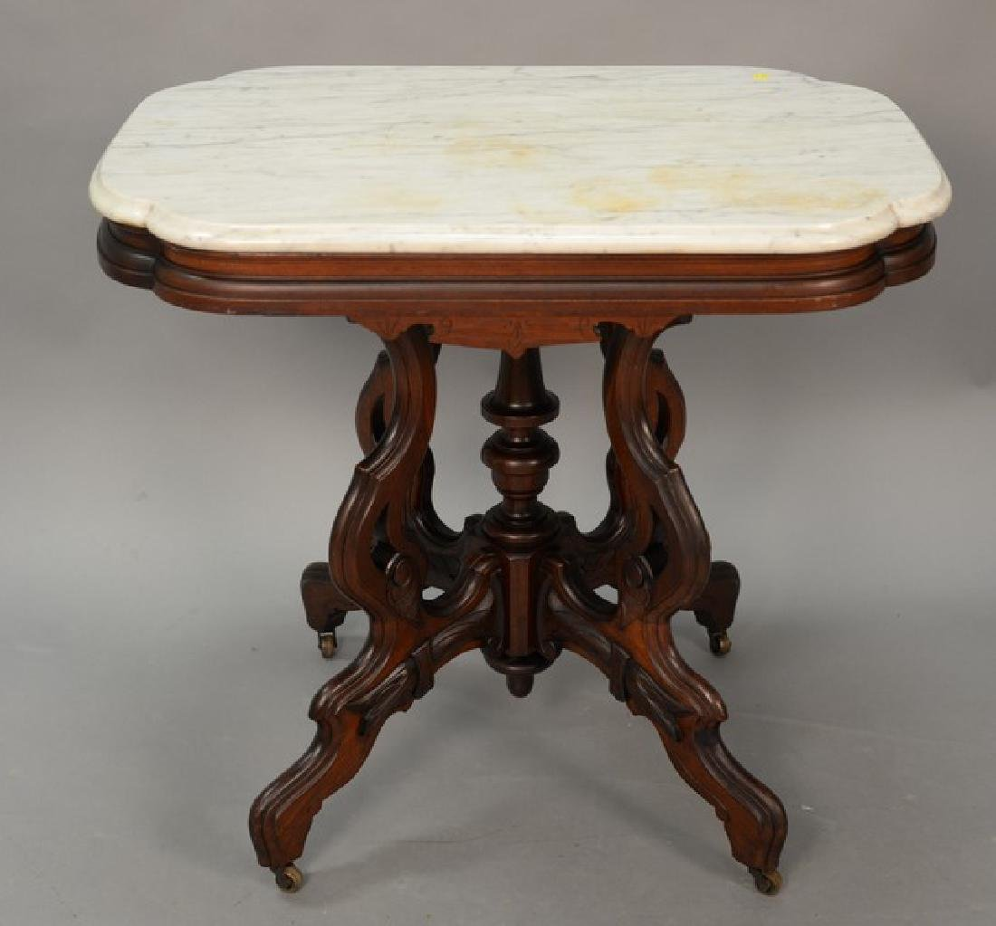 Victorian table with shaped marble top. ht. 30in., top: