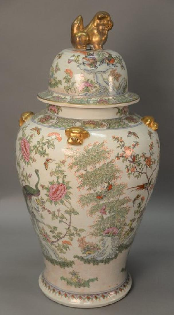 Large palace rose famille style covered jar, late 20th
