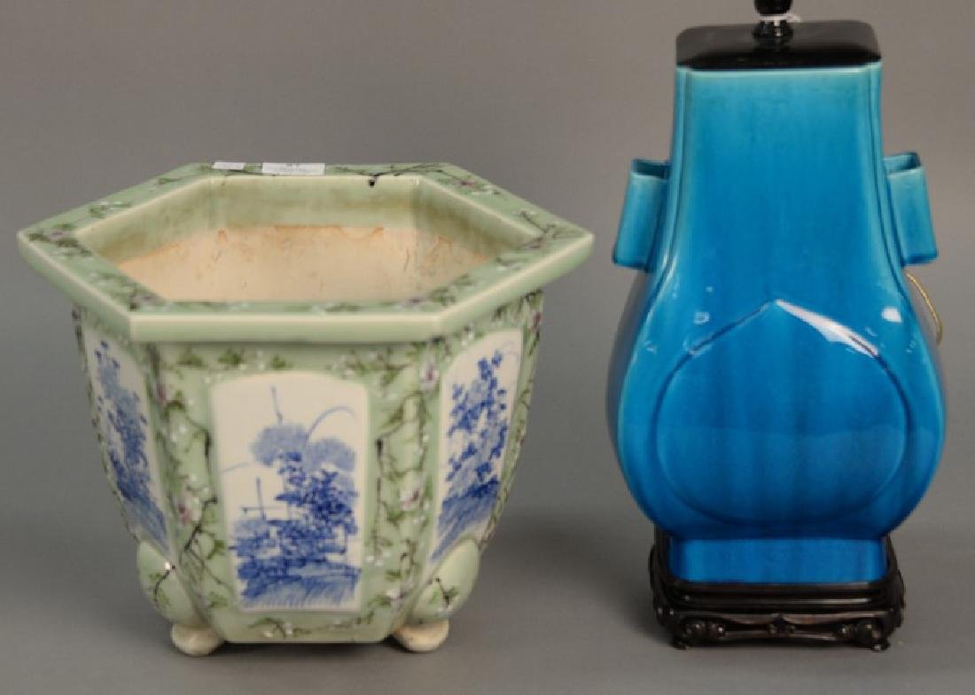 Two piece lot including Chinese celadon planter with
