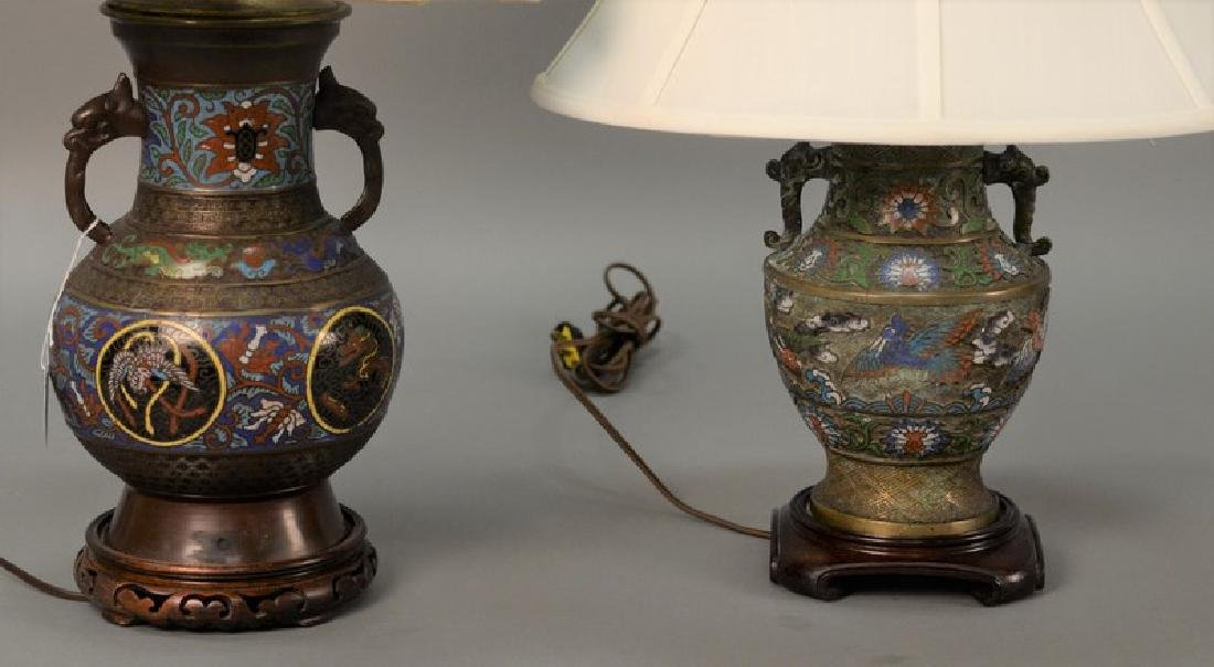 Two champleve table lamps. vase ht. 11in.