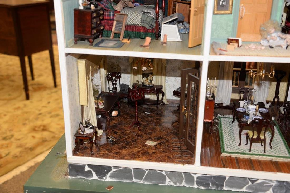 Large doll house on stand with twelve fully furnished - 11
