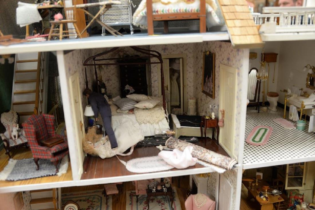 Large doll house on stand with twelve fully furnished - 4