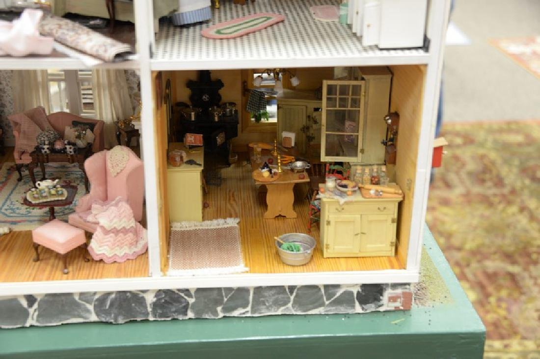 Large doll house on stand with twelve fully furnished - 6