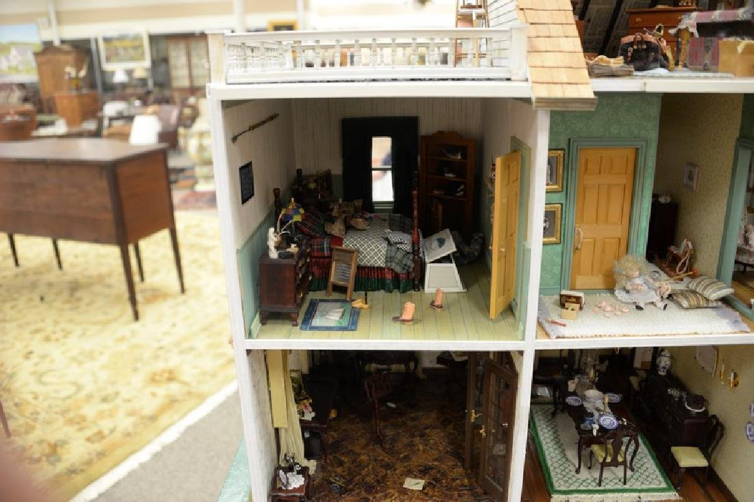 Large doll house on stand with twelve fully furnished - 9