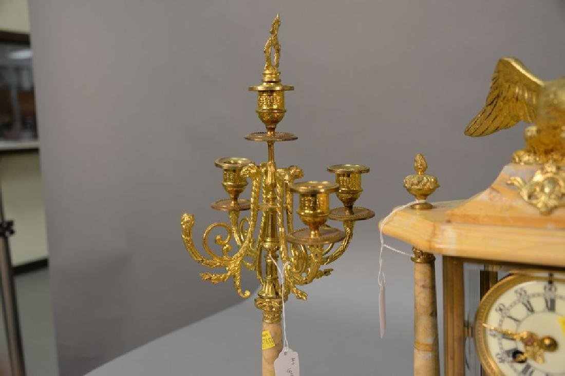 Three piece marble, crystal, and brass clock set (one - 2