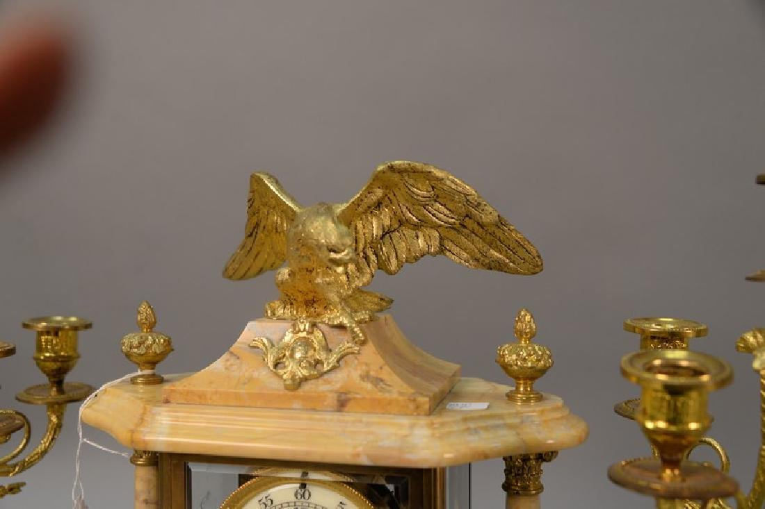 Three piece marble, crystal, and brass clock set (one - 4