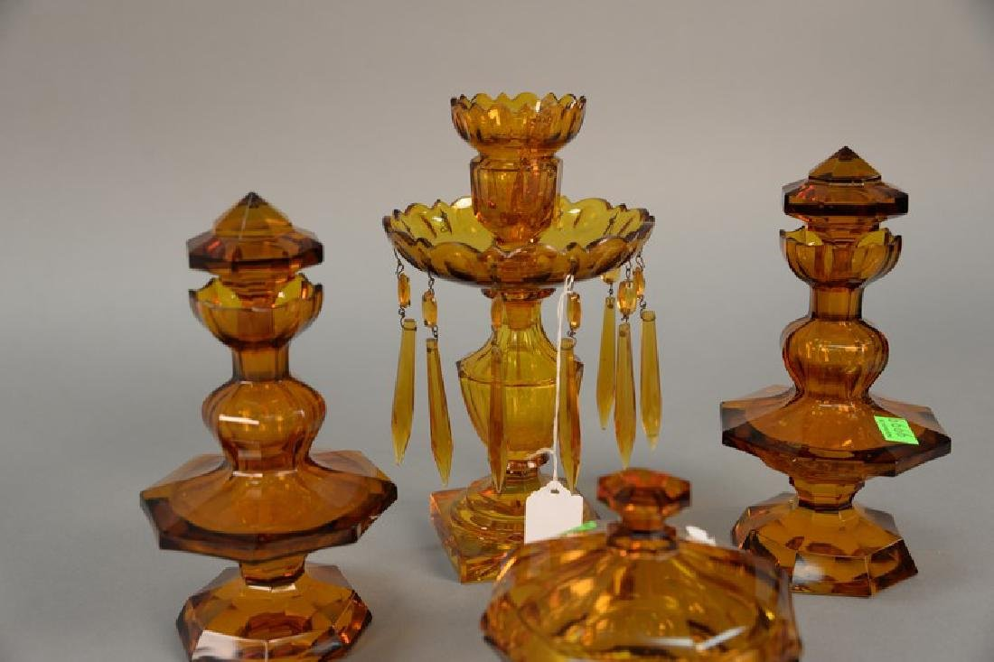 Four piece amber glass set, pair of crystal bottles - 4