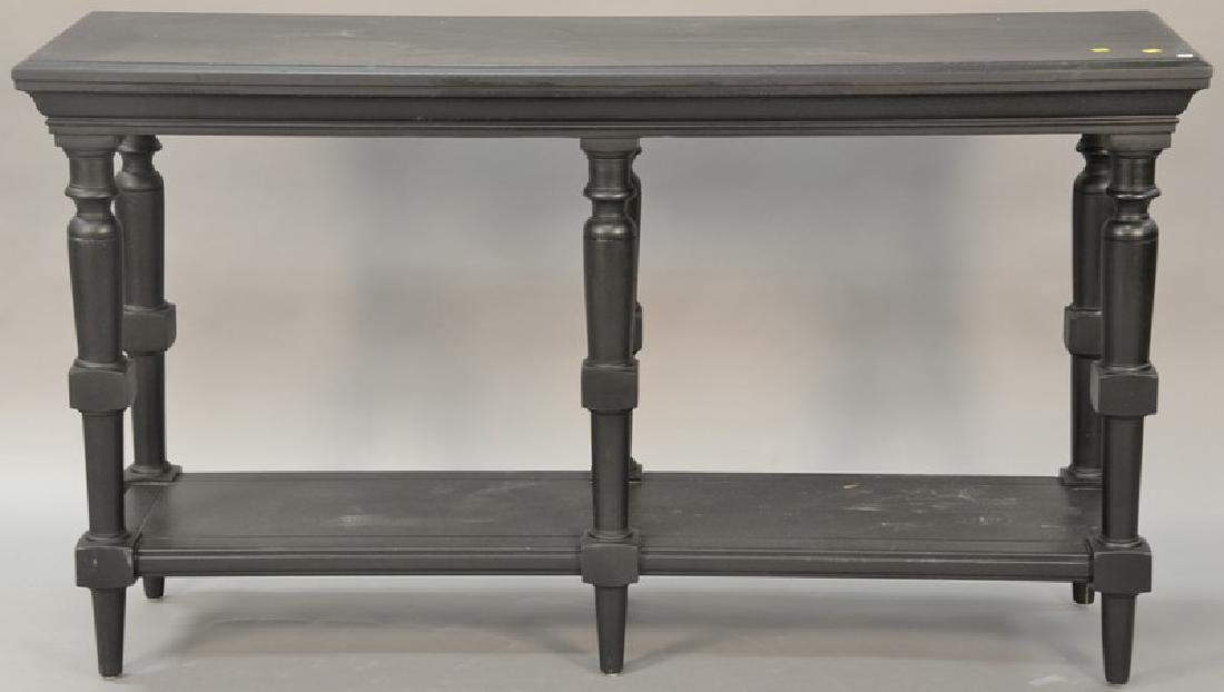 Contemporary black painted hall table. ht. 36in., top: