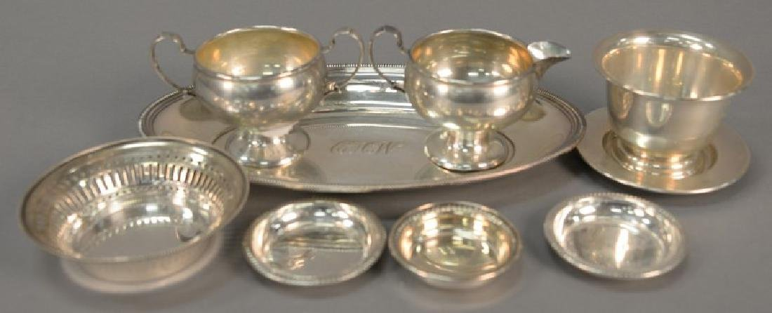 Tray lot of sterling silver including creamer, sugar,
