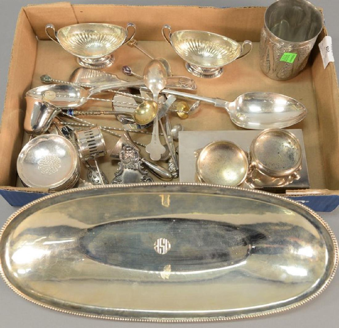 Box lot with silver and silverplate.