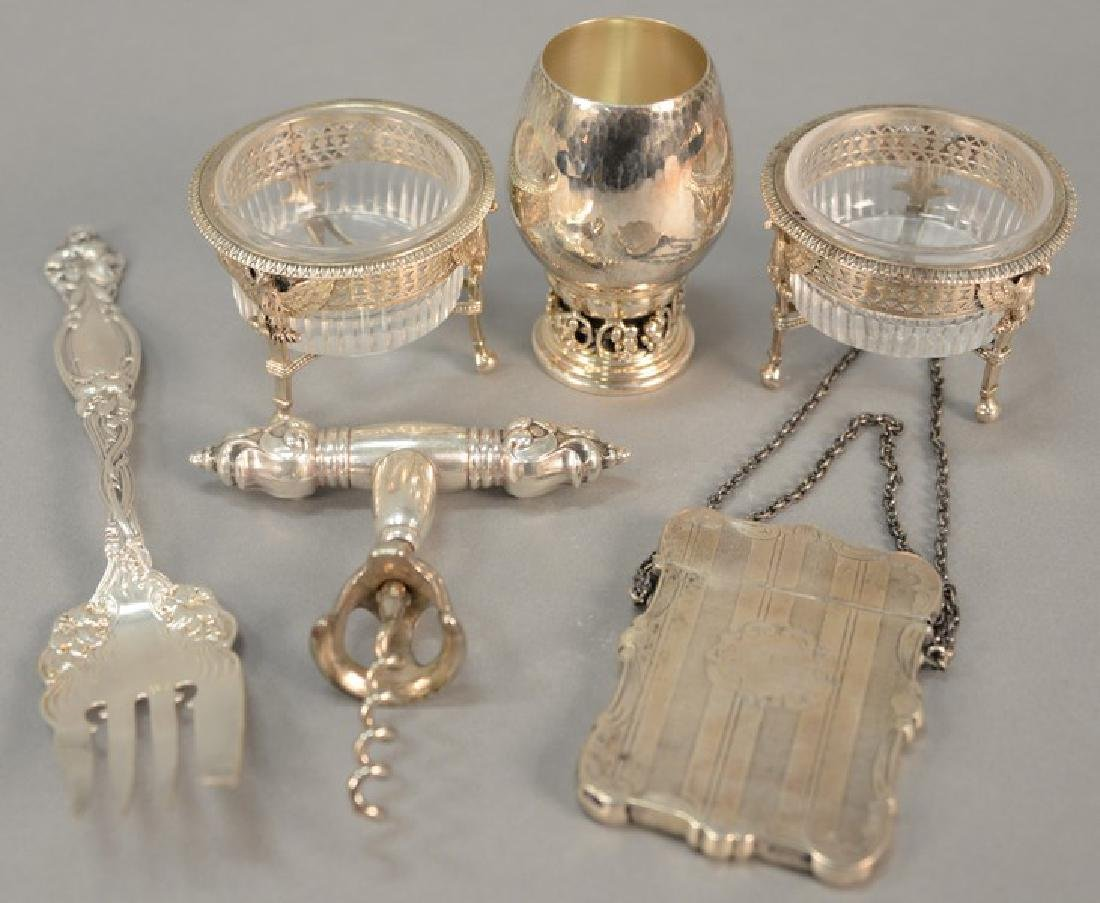 Tray lot of sterling and Continental silver to include
