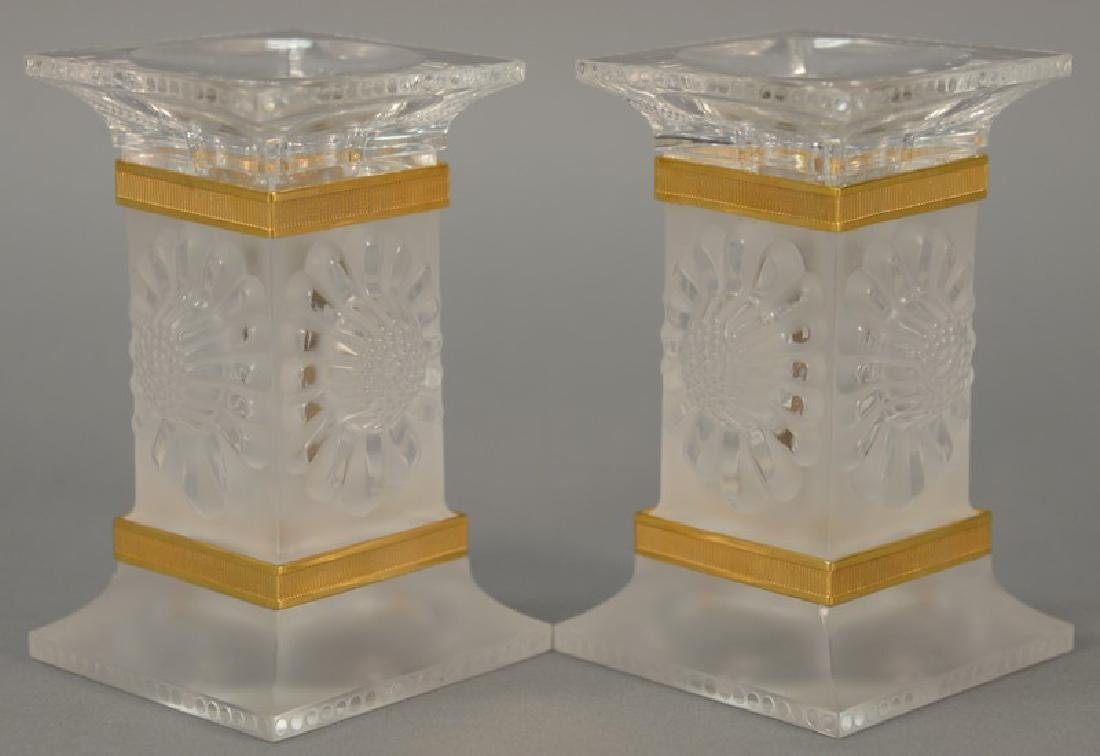 Pair of Lalique paquerettes candlesticks, each candle