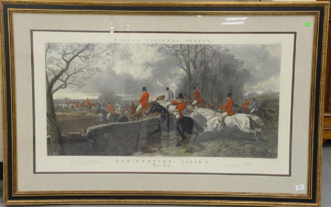 After J. F. Herring, colored engraving, Fox Hunting,
