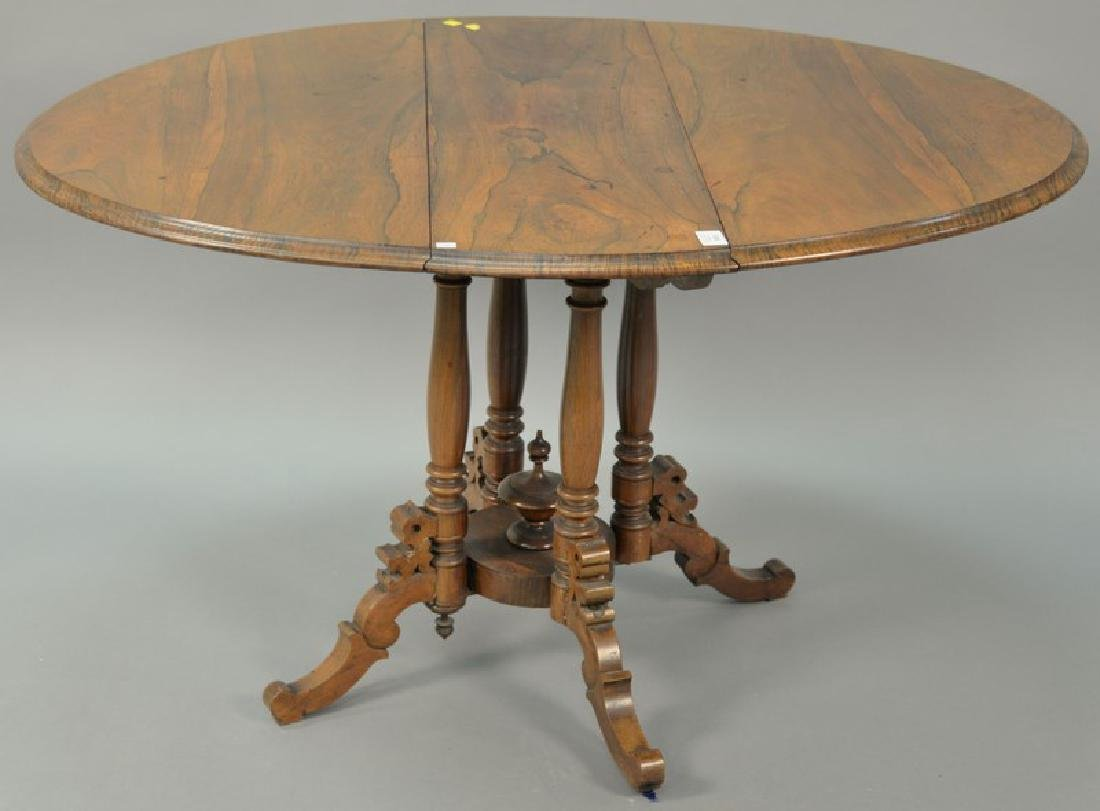 Rosewood Victorian drop leaf table, 19th century. ht.