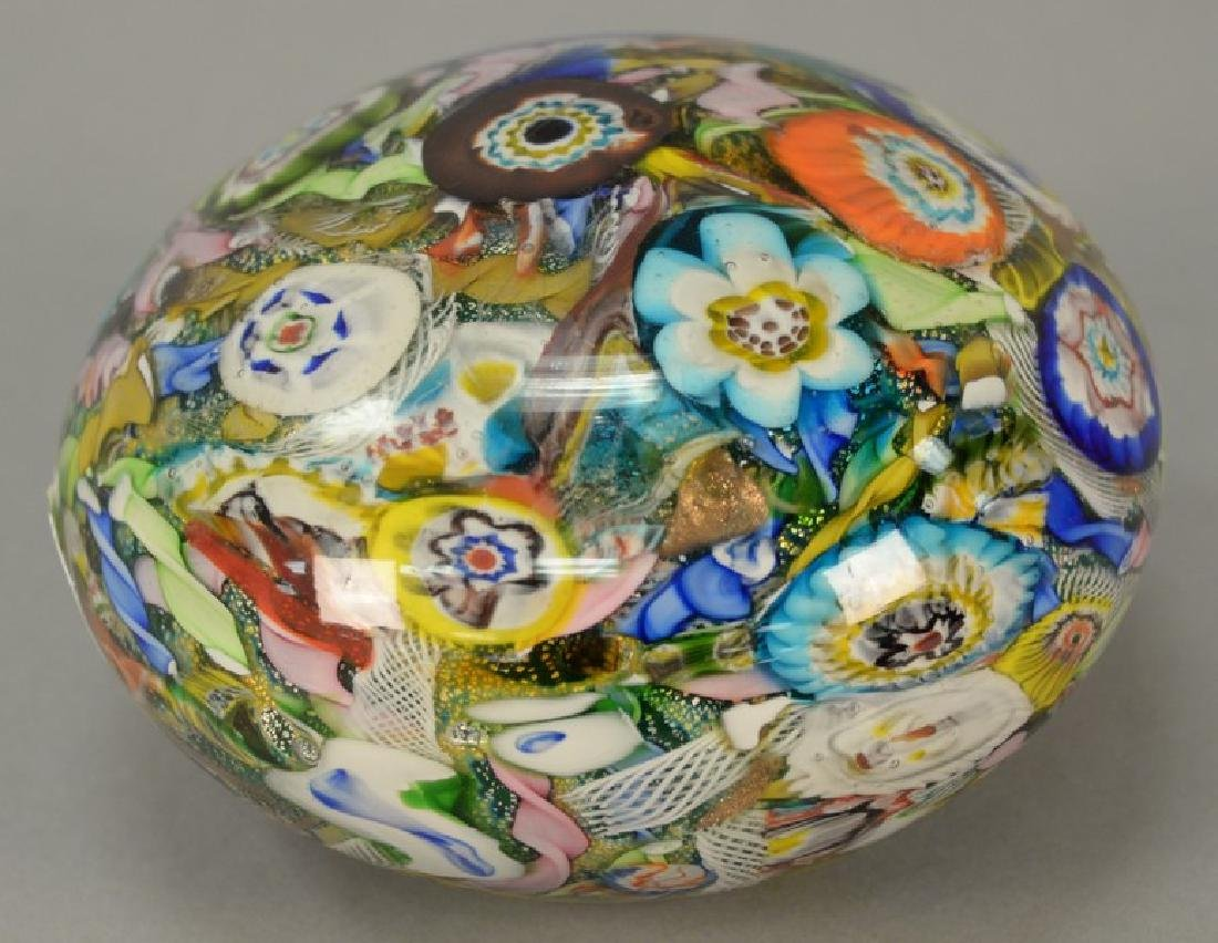 Large millefiori hollow paperweight. ht. 4 1/2in., dia.