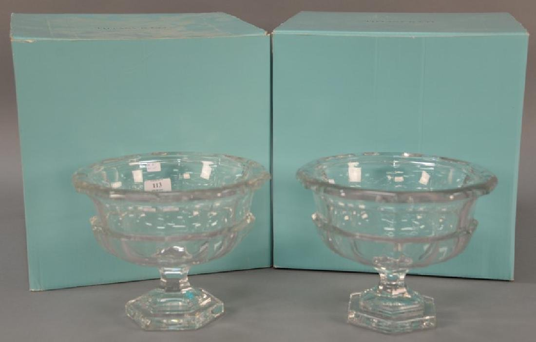 Pair of new large Tiffany & Co. crystal footed compotes