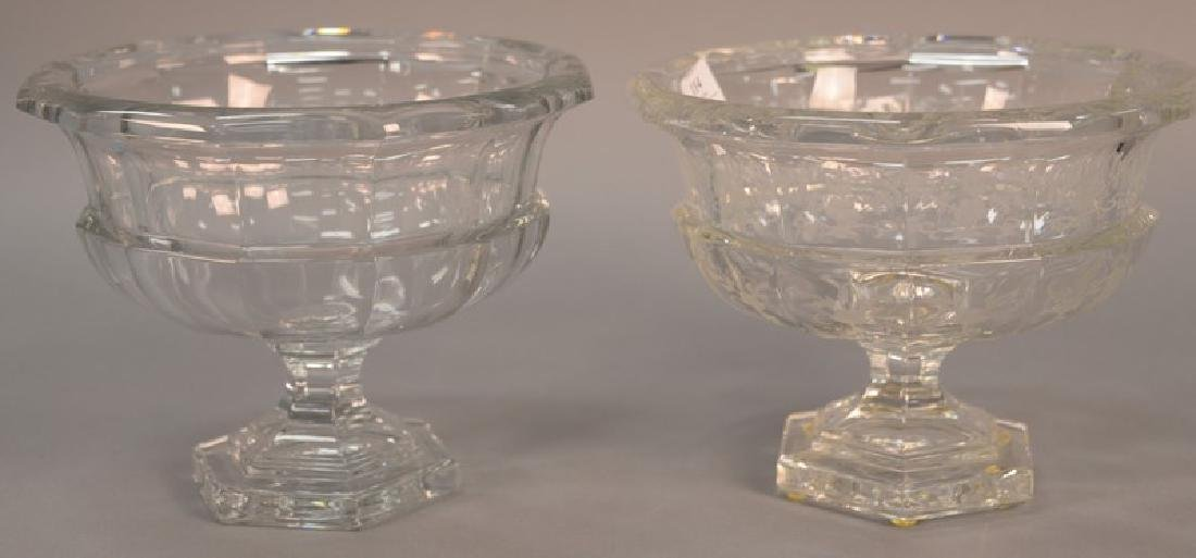 Two large Tiffany & Co. crystal compotes, one etched