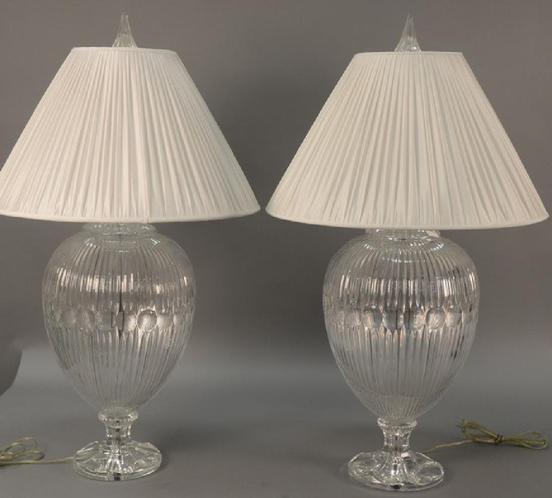 Pair of large crystal table lamps, watermark of a sail