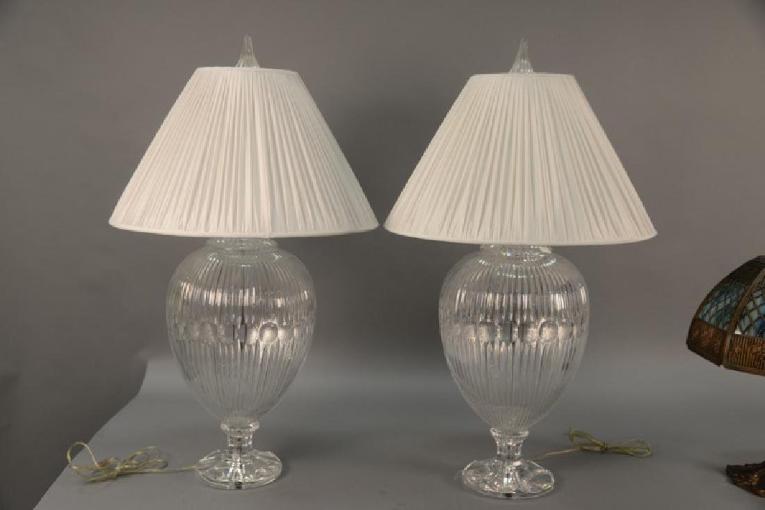 Pair of large crystal table lamps, watermark of a sail - 2
