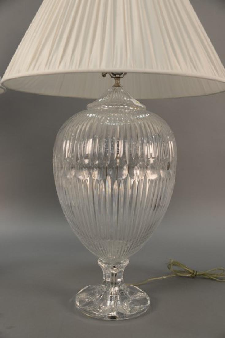 Pair of large crystal table lamps, watermark of a sail - 3