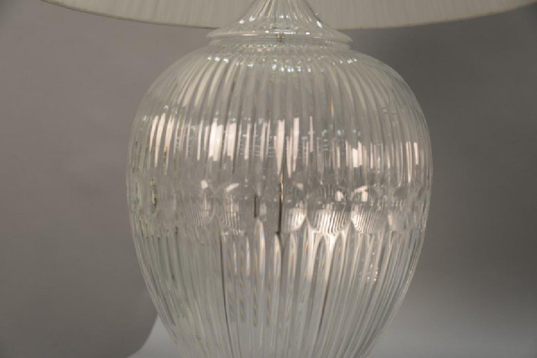 Pair of large crystal table lamps, watermark of a sail - 5