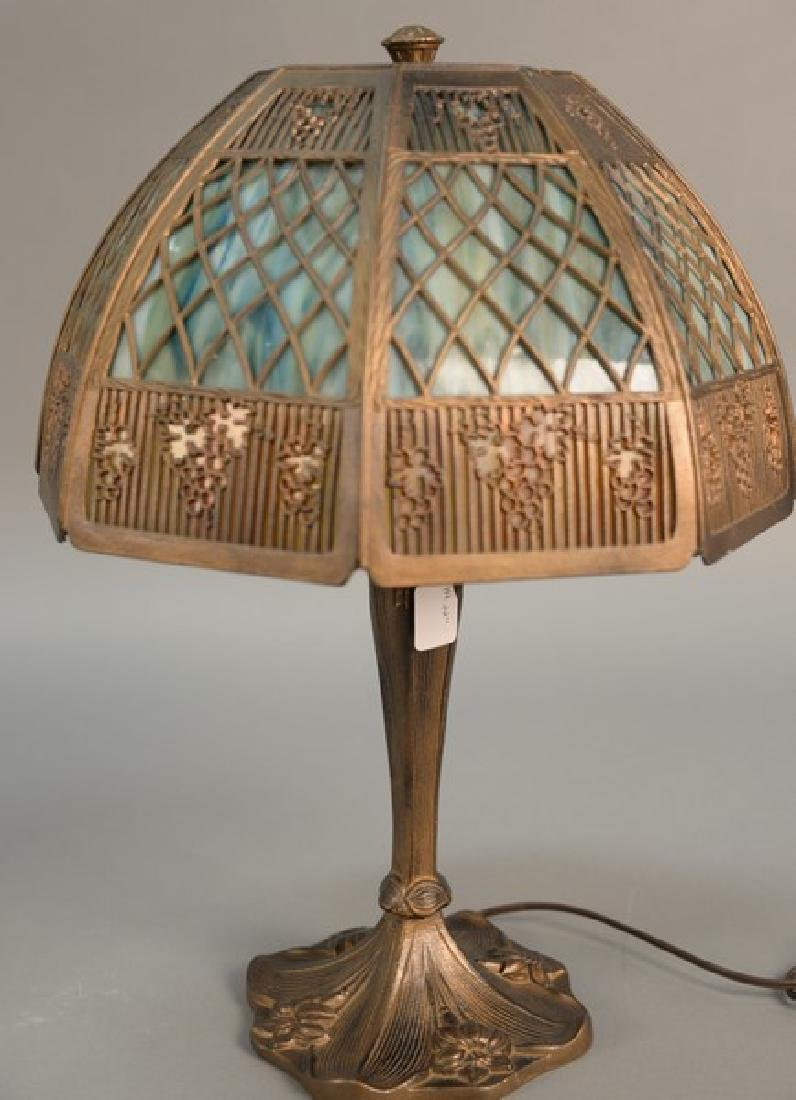 Panel shade table lamp. ht. 22in., dia. 13in.
