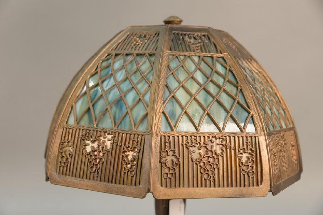 Panel shade table lamp. ht. 22in., dia. 13in. - 2
