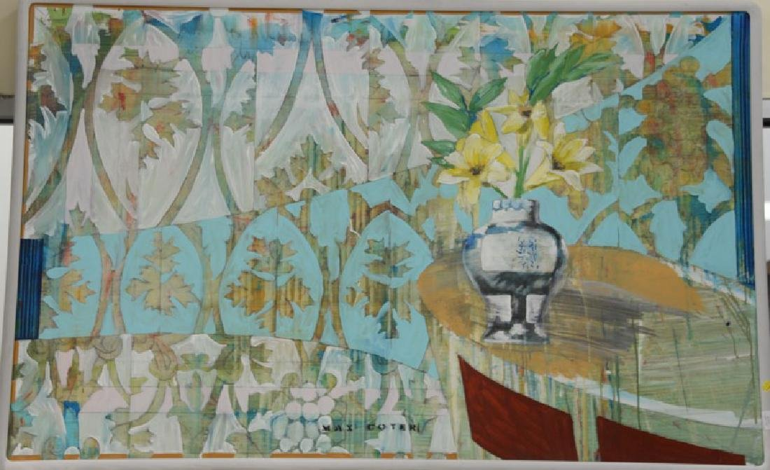 """Max Coyer (1954-1988) oil on canvas """"Console"""", stamped"""