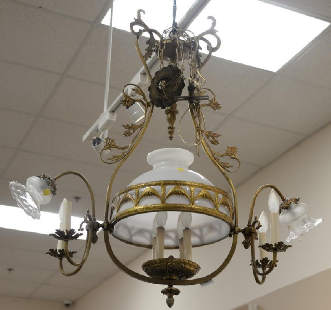 Four piece lot to include a Victorian hanging shade