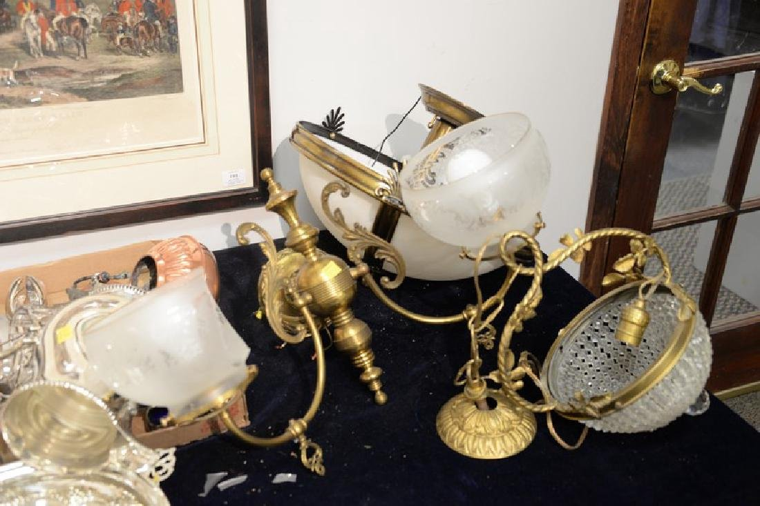 Four piece lot to include a Victorian hanging shade - 6