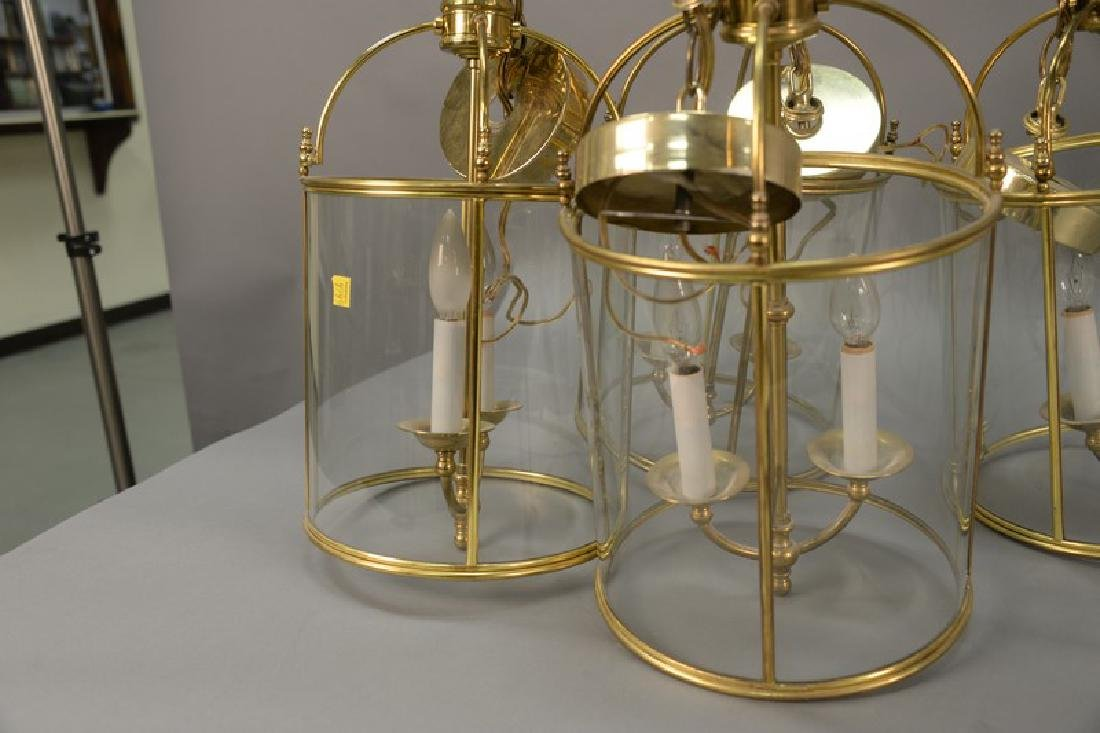 Set of four brass and glass two light hanging lights. - 3