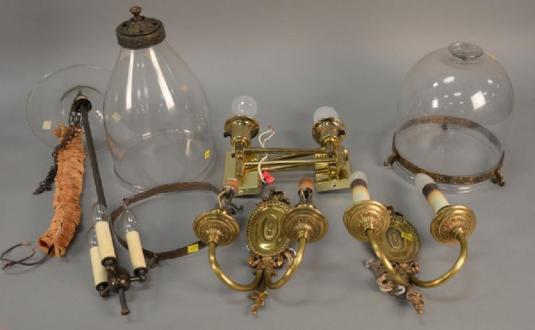 Six piece group of hanging lights and sconces, two