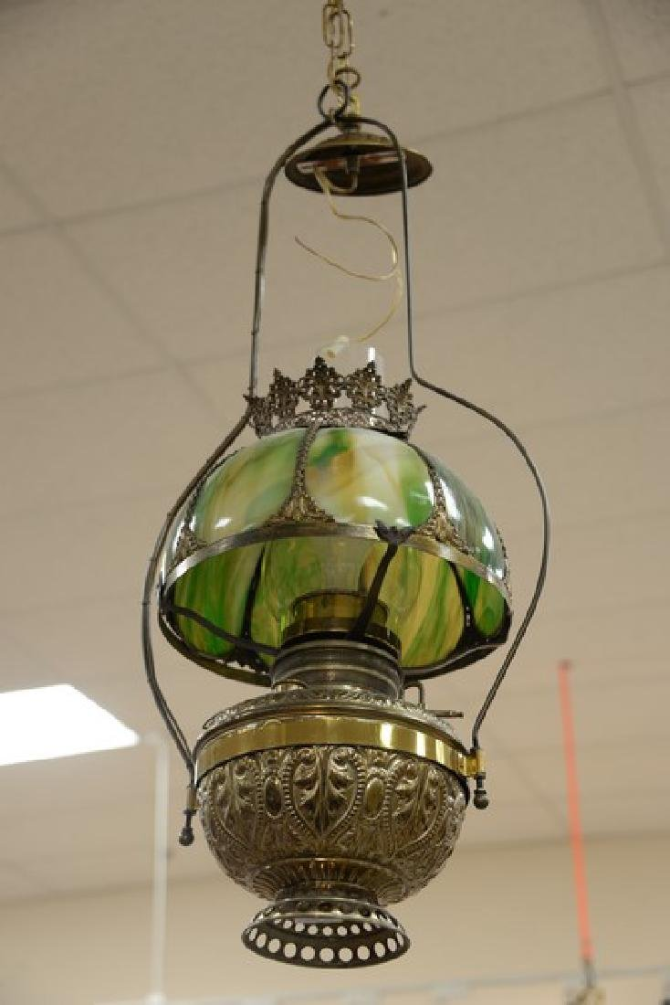 Two hanging lights including one Victorian oil lamp - 2
