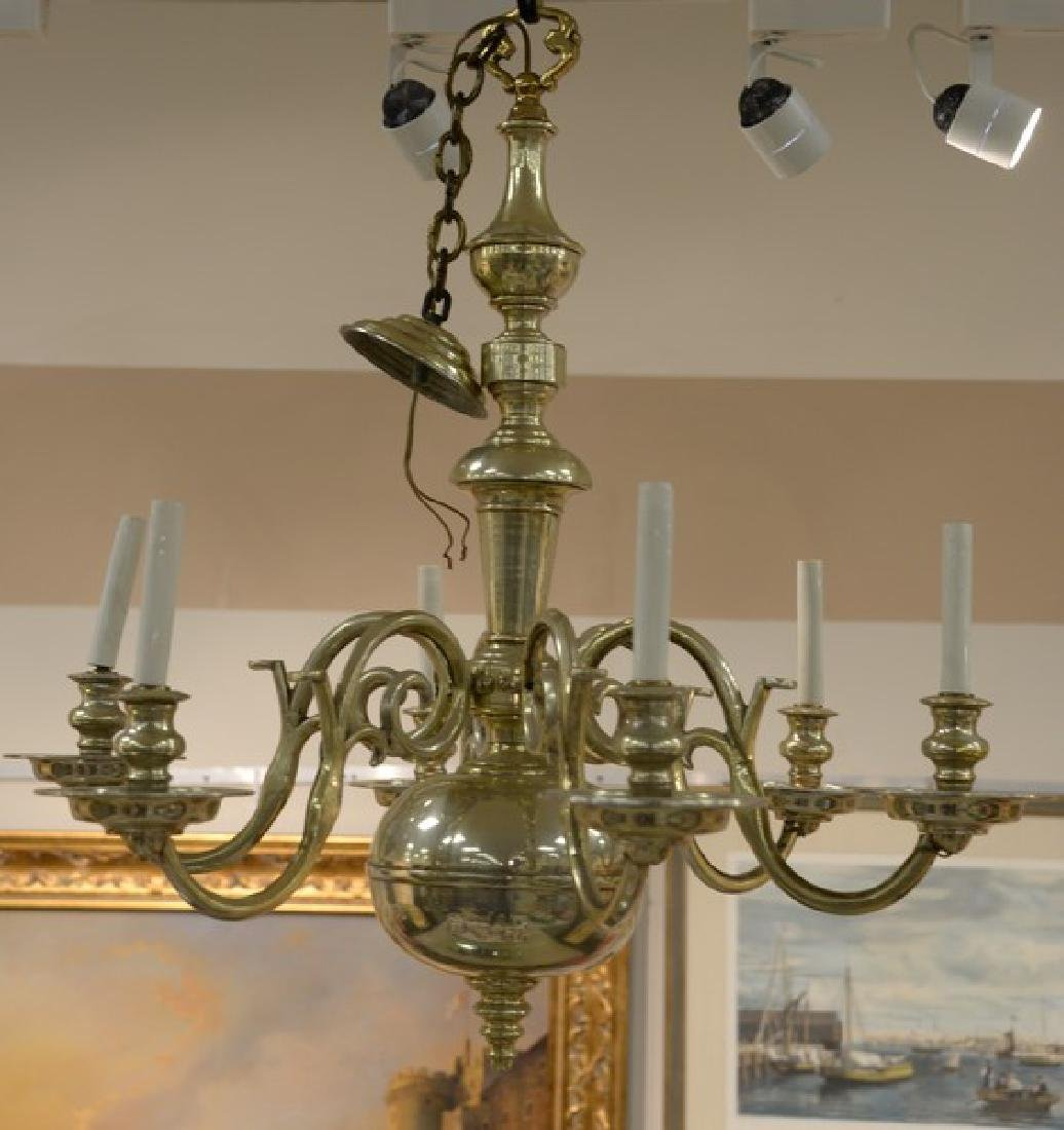 Pair of brass chandeliers, approximate ht. 34in.,