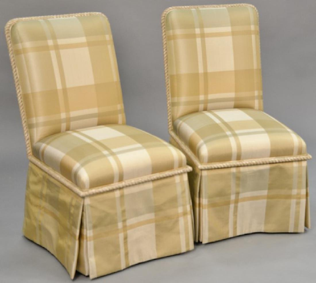 J. Robert Scott pair of upholstered chairs with carved