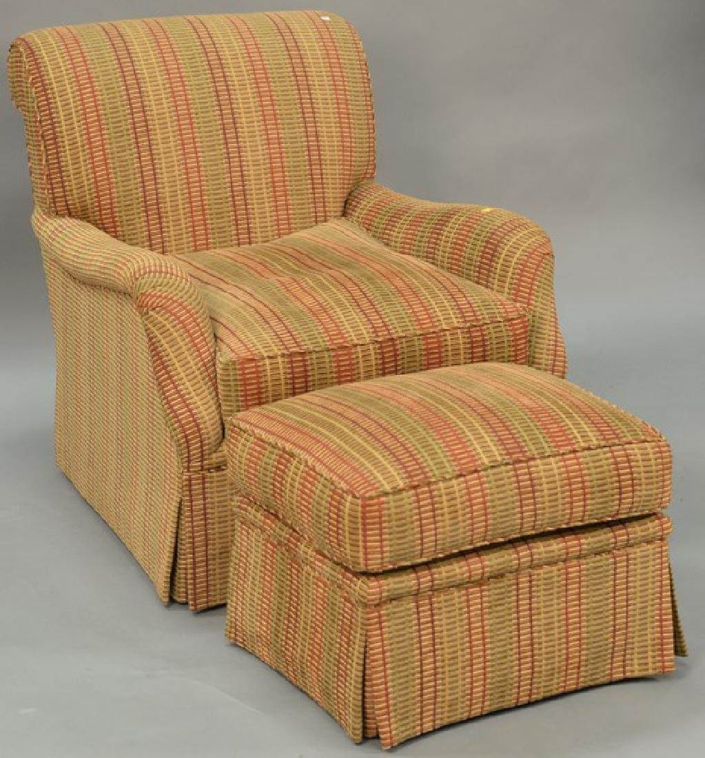 Custom upholstered easy chair and ottoman attributed to