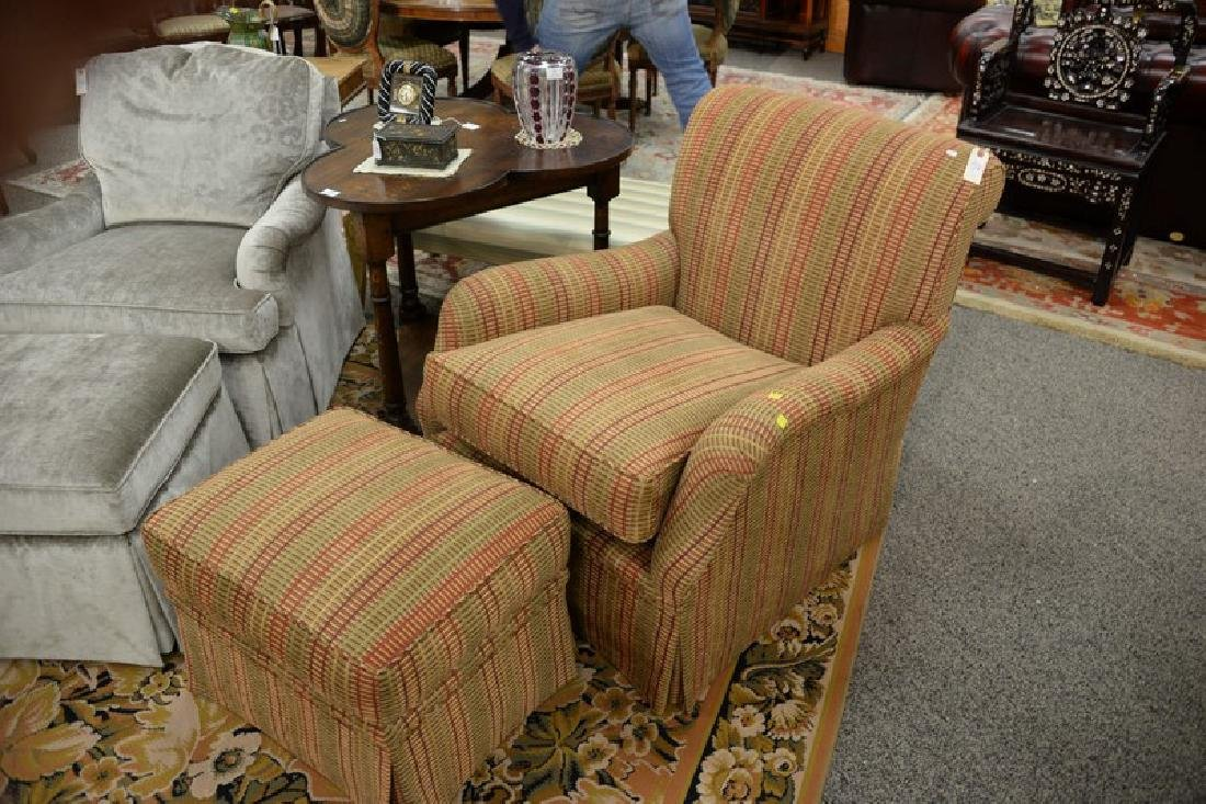 Custom upholstered easy chair and ottoman attributed to - 2